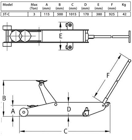 Garagekrik, 3 ton, normale uitvoering Compac 3T-C
