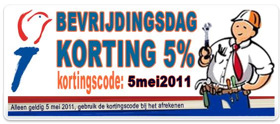 Bevrijdingsdag: 5 mei Actiekorting 5%