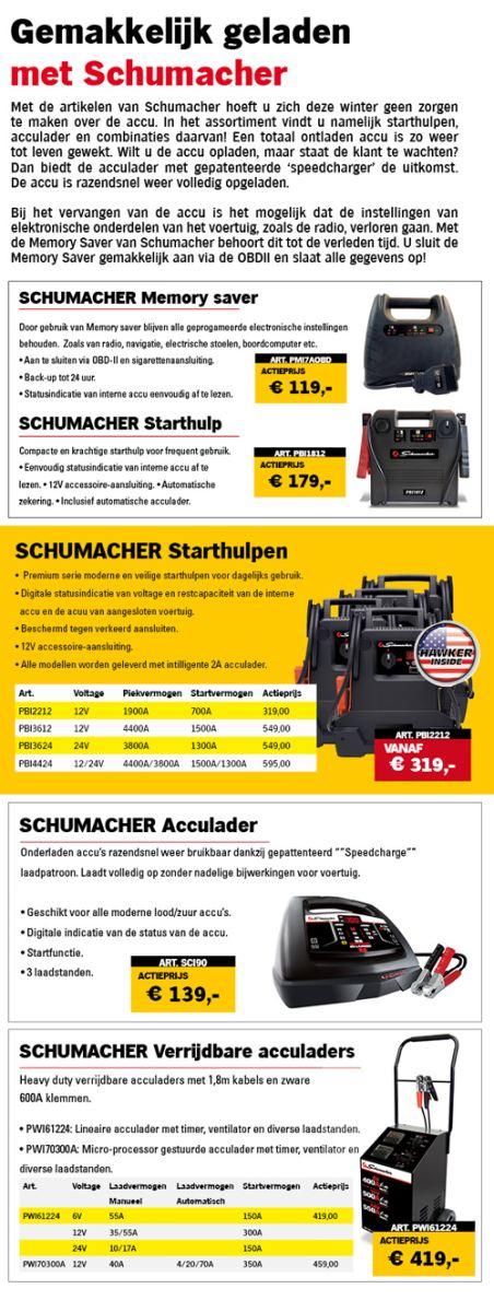 Schumacher acculaders, starthulpen en memory saver