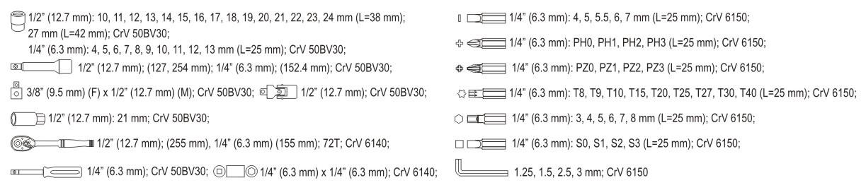 Yato yt-38782 gereedschapset
